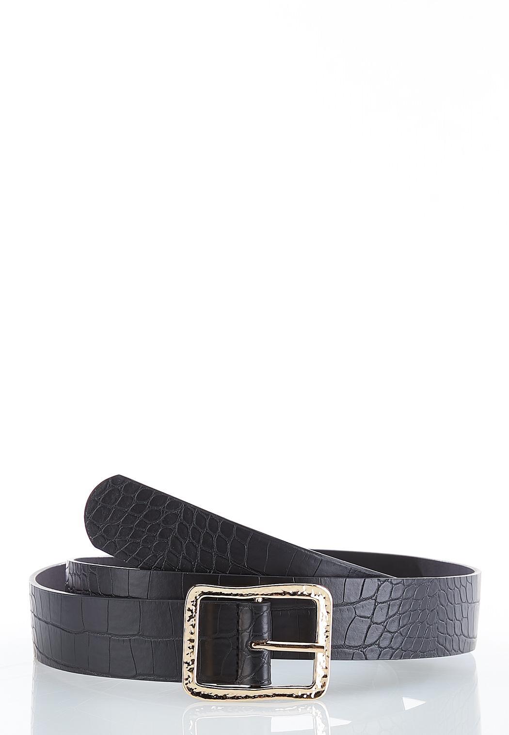 Plus Size Croc Hammered Buckle Belt