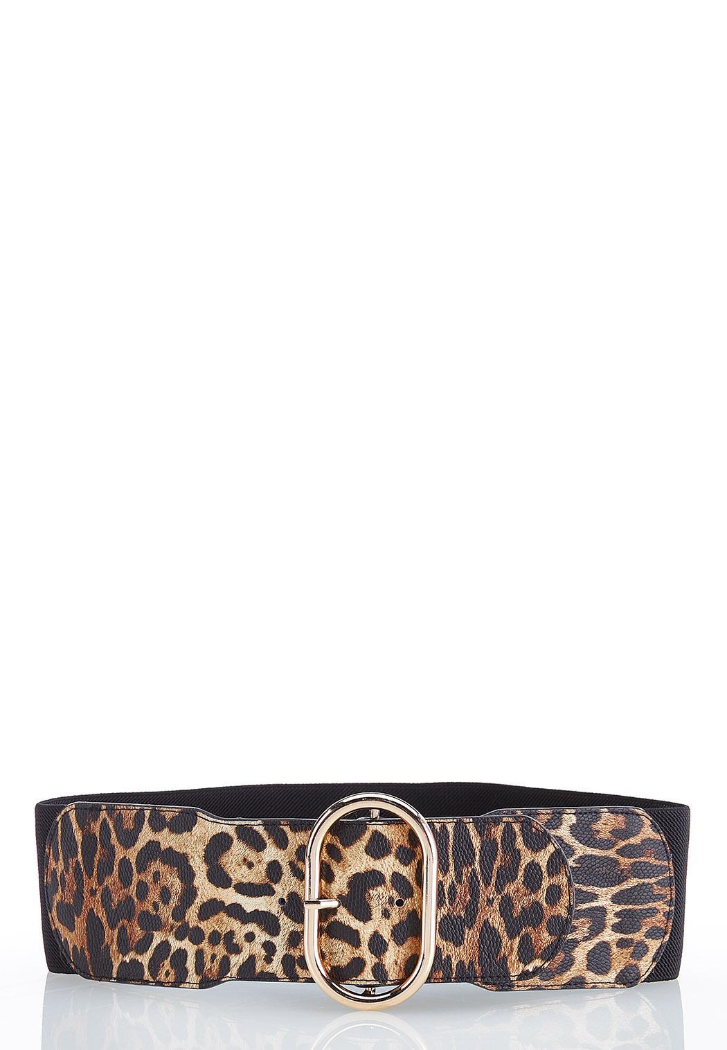 Leopard Buckle Stretch Belt