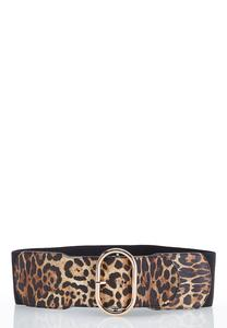 Plus Size Leopard Buckle Stretch Belt