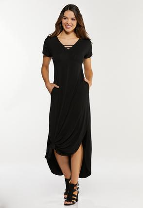 Plus Size Knotted Hem Maxi Dress