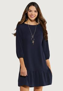 Navy Flounced Hem Dress
