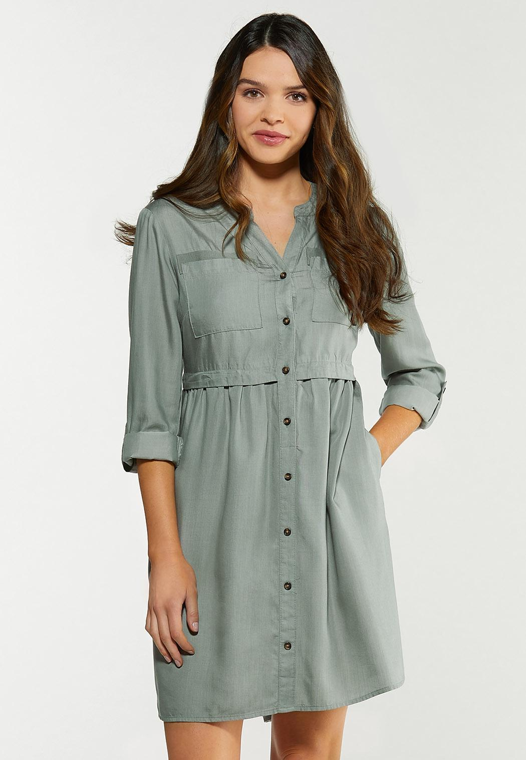 Button Front Babydoll Dress