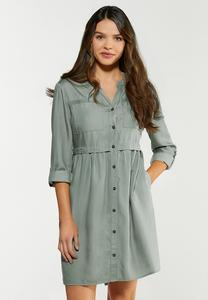 Plus Size Button Front Babydoll Dress