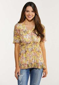 Plus Size Floral Mesh Babydoll Top