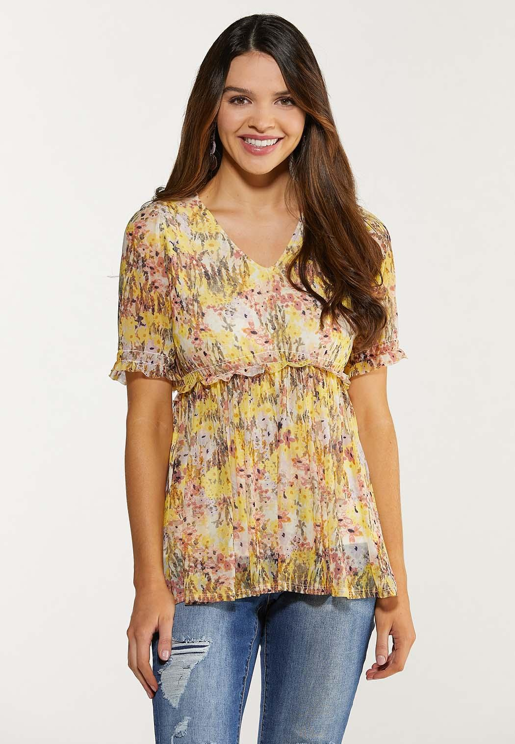Plus Size Floral Mesh Babydoll Top Tees Knit Tops Cato Fashions