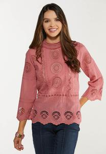 Embroidered Mock Neck Top