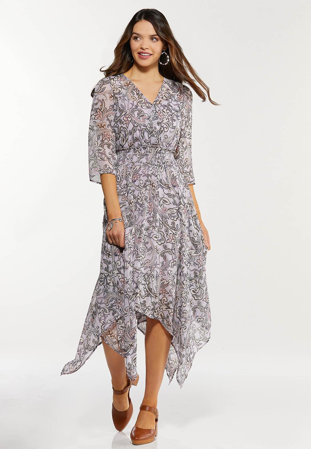 Plus Size Smocked Paisley Hanky Hem Dress