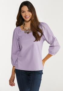 Faux Leather Puff Sleeve Top