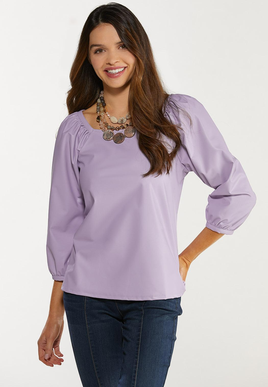 Plus Size Faux Leather Puff Sleeve Top