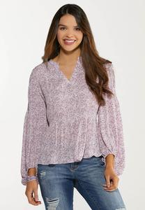 Plus Size Lavender Fields Sleeve Top