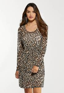 Plus Size Leopard Mesh Dress