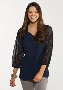 Plus Size Lace Sleeve Poet Top