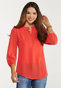 Spice Ruffled Button Top