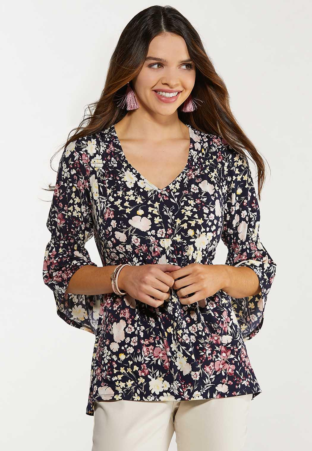 Plus Size Smocked Floral Tunic