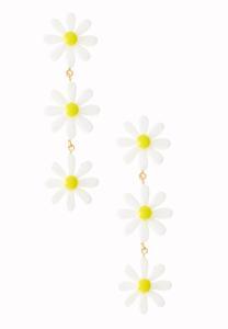 Daisy Flower Linear Earrings