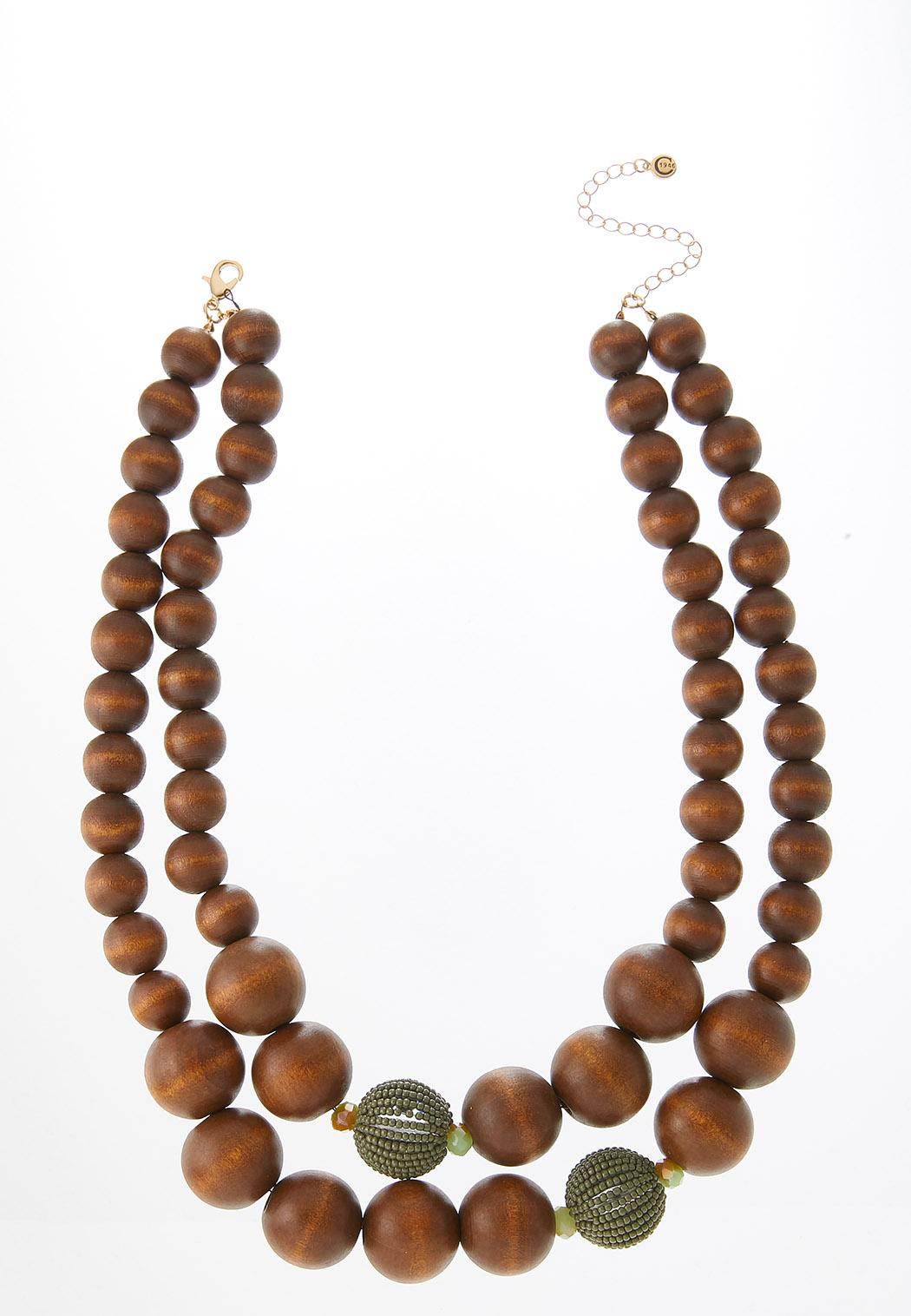 Green Accent Wood Ball Necklace