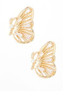 Butterfly Button Earrings