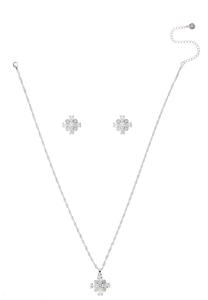 Sparkle Flower Necklace Earring Set
