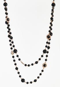 Black Layered Bead Necklace