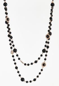 Black Layered Bead Necklace
