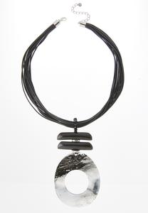 Oversized Resin Pendant Cord Necklace