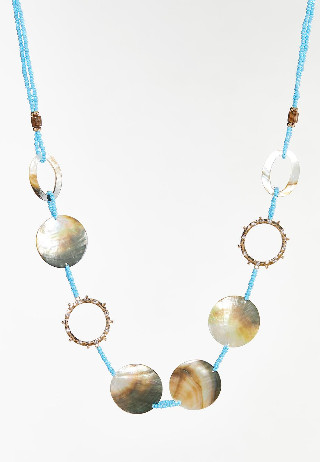 Shell Seed Bead Cord Necklace