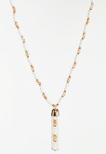 Delicate Pearl Bead Tassel Necklace