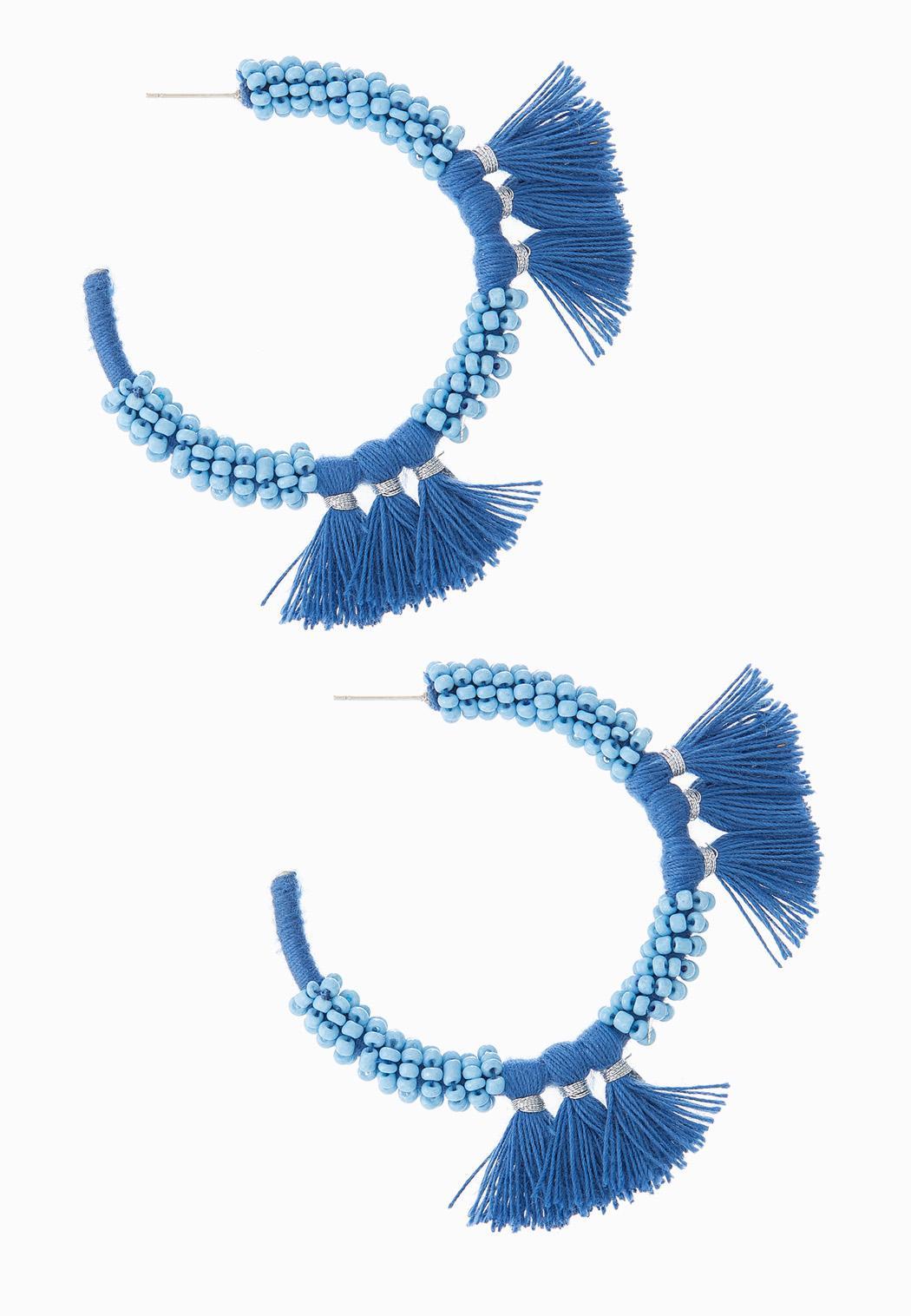Bead Fringe Hoop Earrings