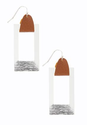 Faux Leather Hang Frame Earrings