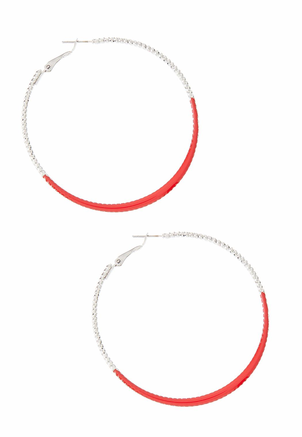Red Edge Thin Hoop Earrings