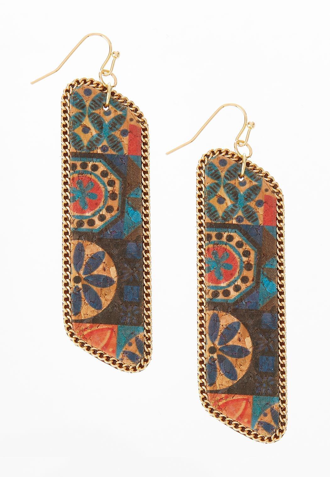 Printed Cork Linear Earrings