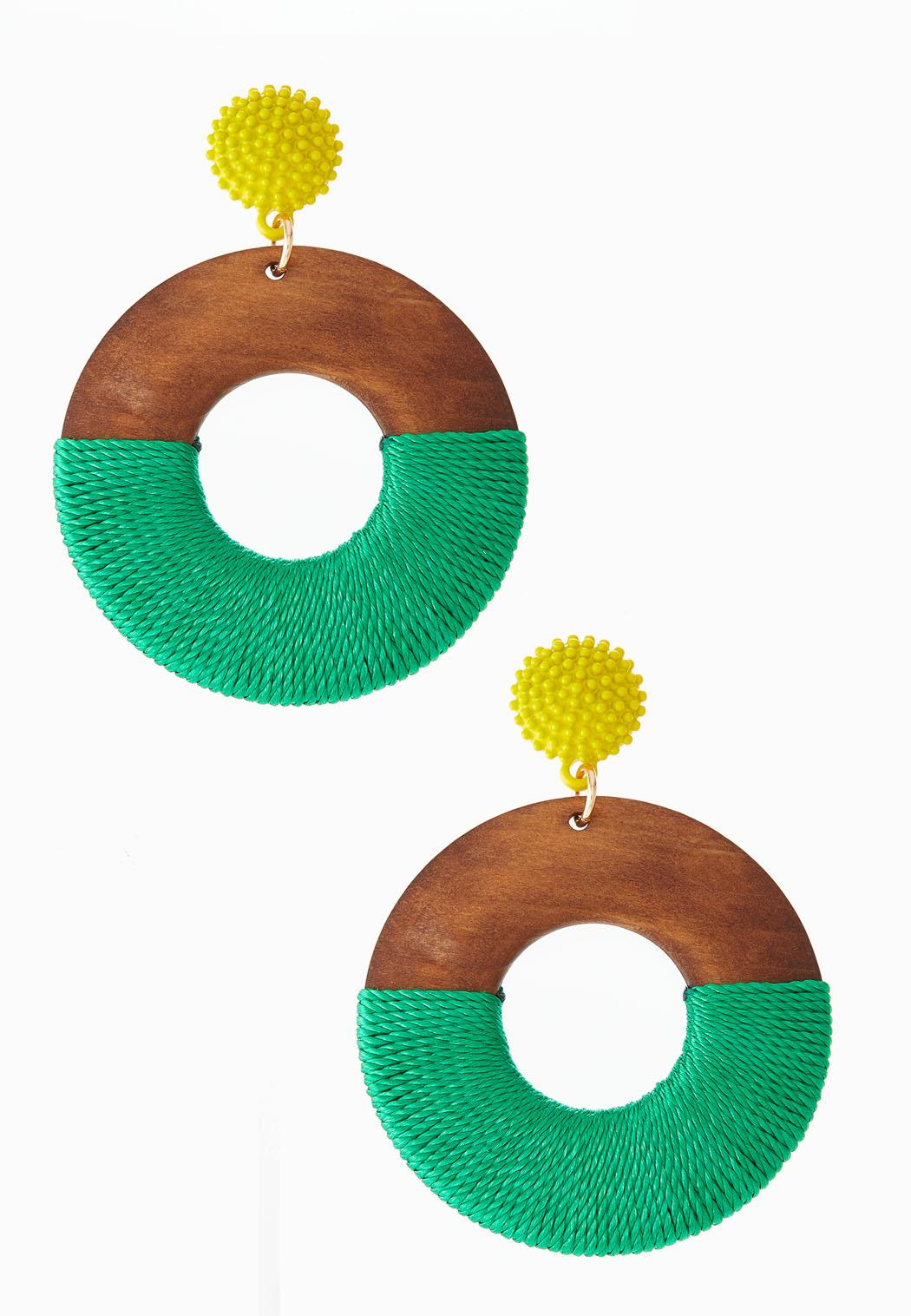 Thread Wrapped Wood Earrings