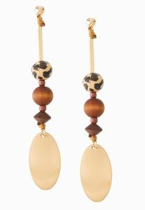 Wood Safari Bead Earrings
