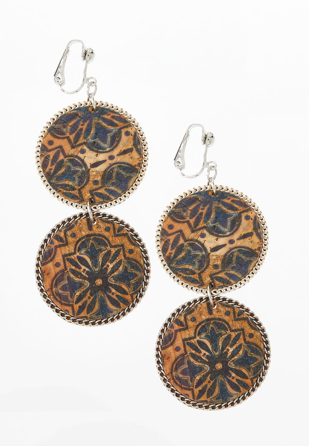 Medallion Double Cork Clip-On Earrings