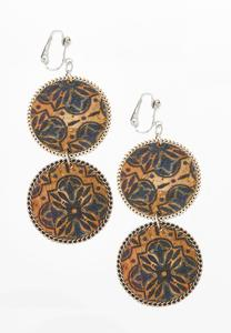 Medallion Double Cork Clip-On Earrings