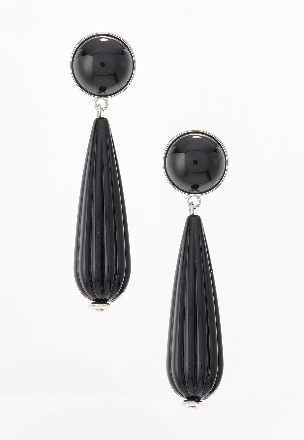 Black Enamel Clip-On Earrings