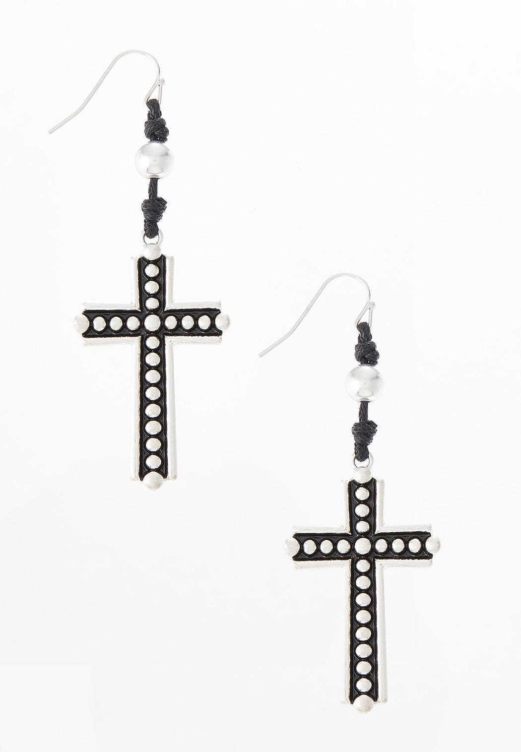 Cord Cross Earrings
