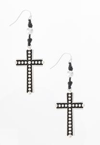 Cord Cross Earrings