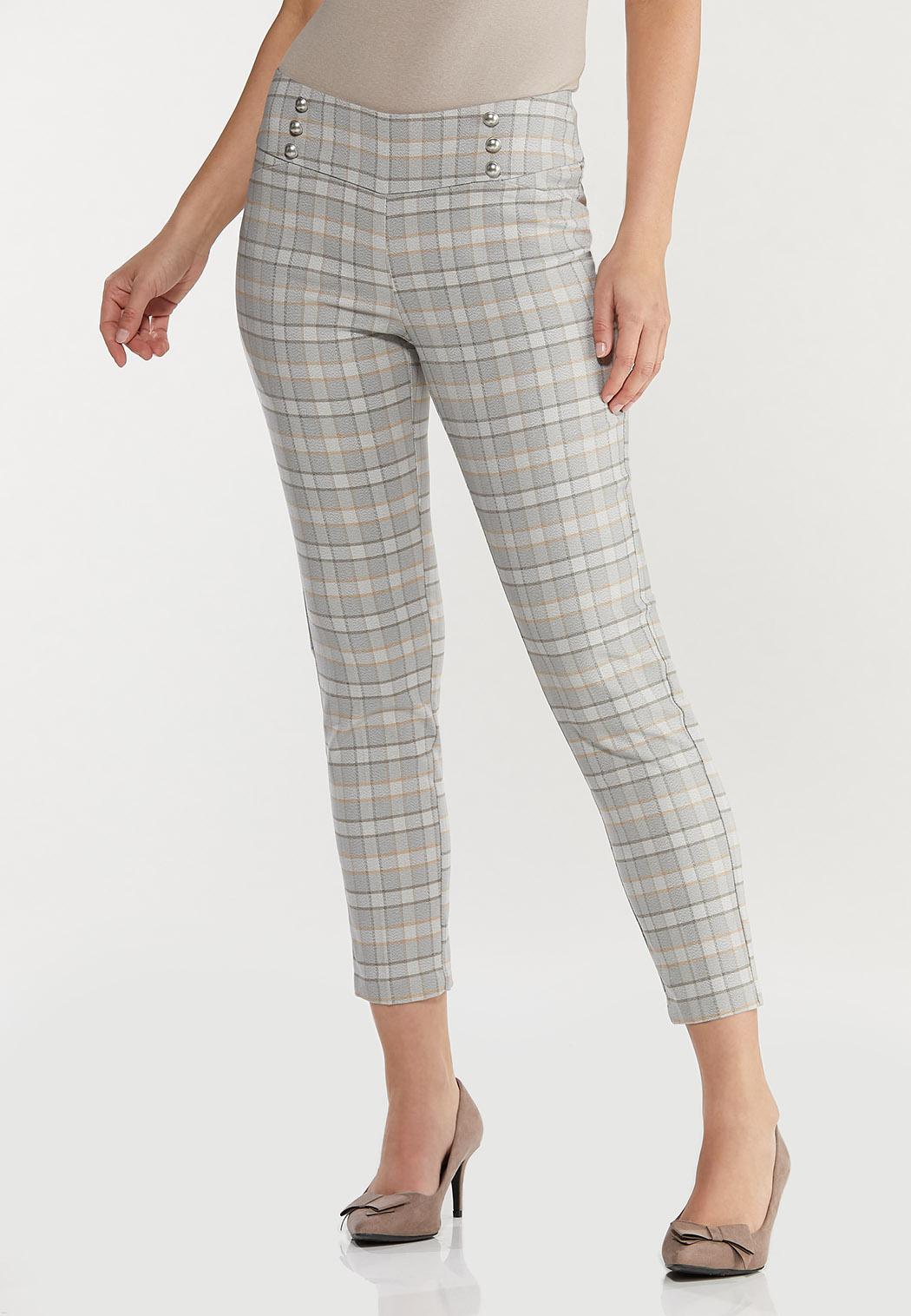 Plaid Slim Ankle Pants
