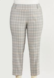 Plus Size Neutral Plaid Slim Ankle Pants
