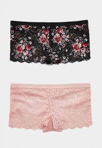 Pretty Lace Boy Short Panty Set