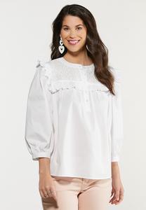 White Ruffled Puff Sleeve Top