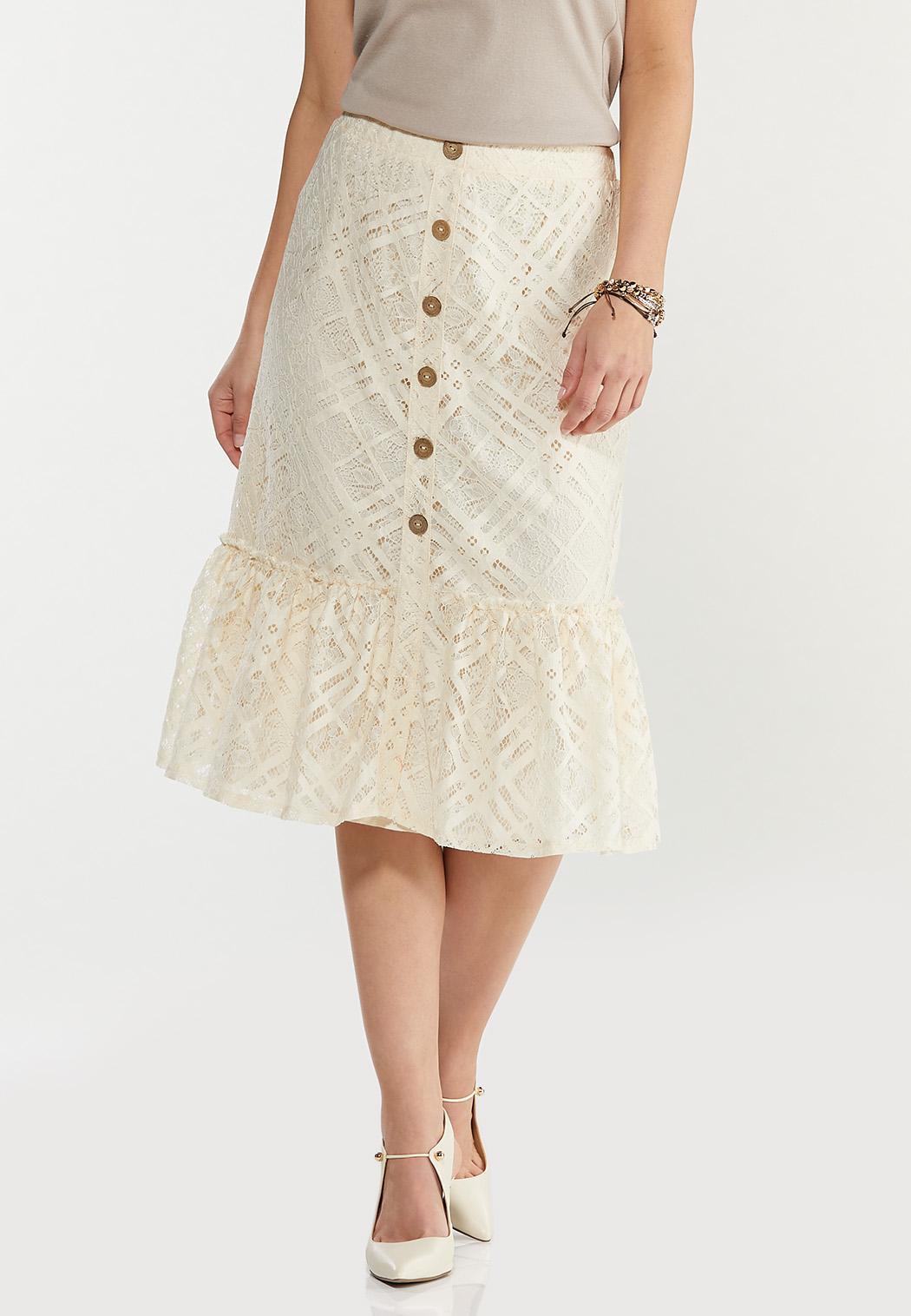 Plus Size Lace Button Front Midi Skirt