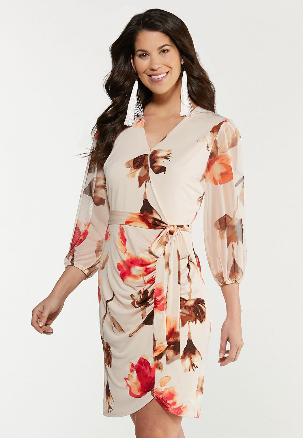 Plus Size Mesh Floral Wrap Dress