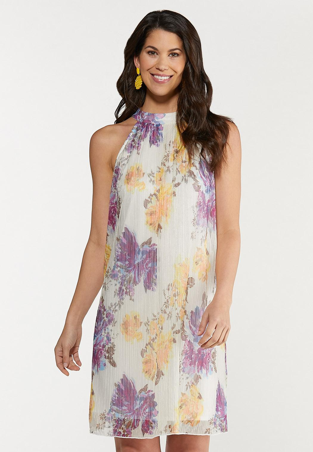 Shimmer Floral Pleated Dress