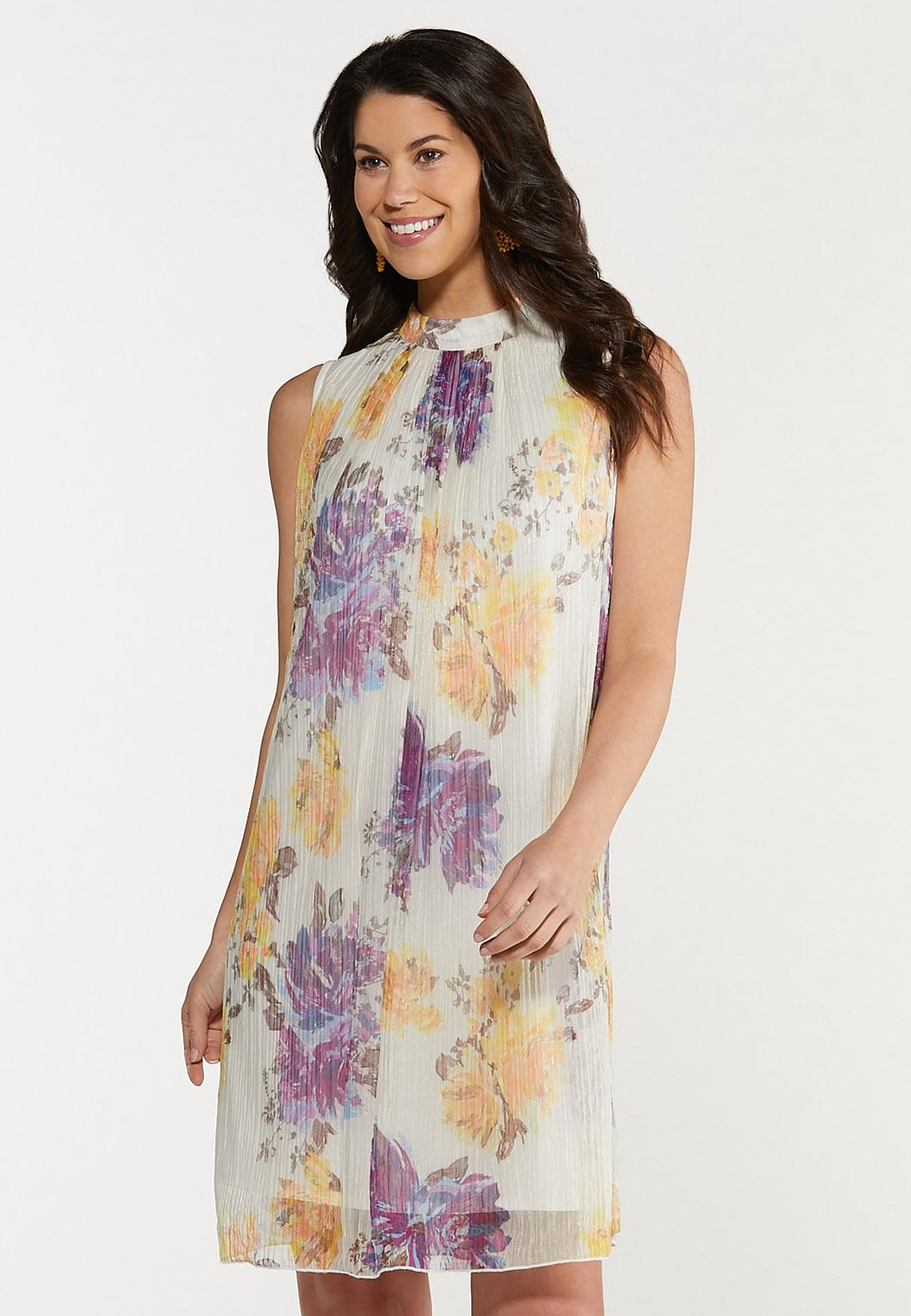 Plus Size Shimmer Floral Pleated Dress