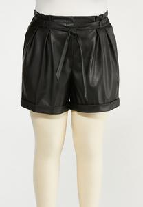 Plus Size Faux Leather Paperbag Shorts