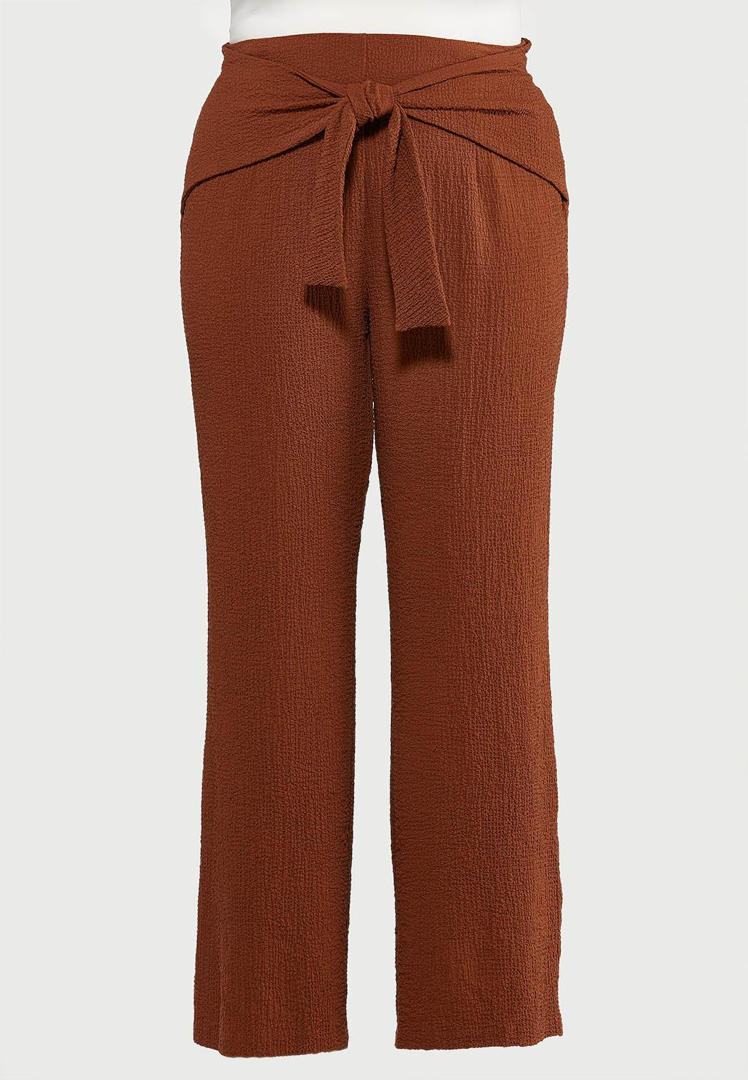 Plus Size Textured Tie Front Pants