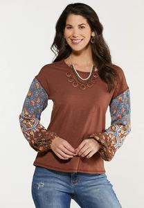 Plus Size Contrast Floral Sleeve Top