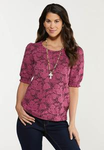 Plus Size Jacquard Smocked Sleeve Top
